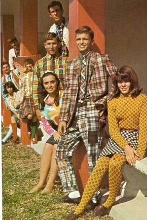 Kathy Horne and Elaine Pressman in a group during Clash Day 1967